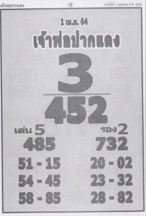 เลขเด็ดเจ้าพ่อปากแดง 1/4/64